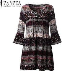 zanzea floral de las mujeres de la vendimia impresión mini vestido atractivo de las señoras con cuello en v de encaje hasta 3/4 rizado floja ocasional vestidos vestidos negro -negro