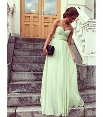 2014 a-line sweetheart sleeveless sage long chiffon bridesmaid dress /formal