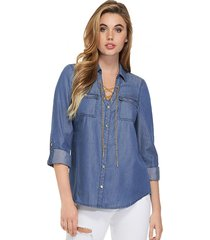 camisa ls holden lace up top denim guess