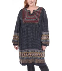 white mark women's plus size atarah embroidered sweater dress