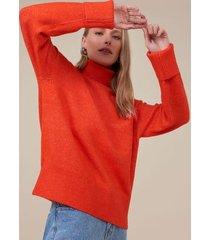 amaro feminino suéter básico lanoso, laranja