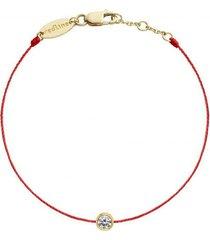 yellow gold pure diamond red cord bracelet