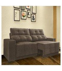 sofá 5 lugares net jaguar assento retrátil e reclinável marrom 2,50m (l)