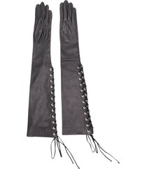 unravel project lace-up long gloves - black