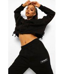 korte hoodie met geplooide zoom, black