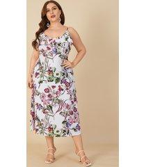 talla grande escote en v estampado floral recortado sin espalda diseño sin mangas maxi vestido