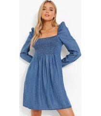 geplooide gesmokte chambray jurk, blue