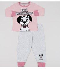 pijama infantil 101 dálmatas manga longa rosa