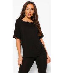 leopard print ringer t-shirt and legging set, black
