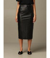 n° 21 skirt n ° 21 pencil skirt in leather with rhinestones