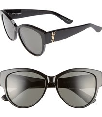 women's saint laurent 55mm cat eye sunglasses - black