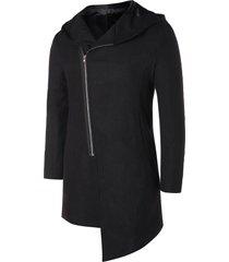 asymmetric zip up hooded longline coat