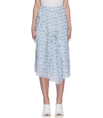 floral print asymmetric flare hem chiffon midi skirt