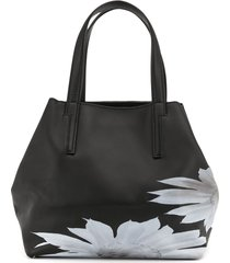 discord yohji yamamoto faux-leather floral-print tote bag - black