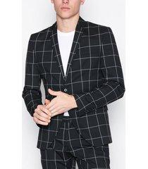 selected homme shdzero-jet grid black check blazer kavajer & kostymer svart
