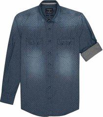 camisa manga larga en denim con puntos slim fit para hombre 74324