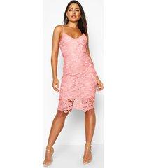 boutique midi-jurk met bandjes van gehaakte kant, blush