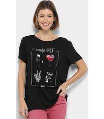 camiseta my favorite thing (s) bordada apliques feminina