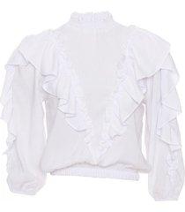 blusa blanca odas volado