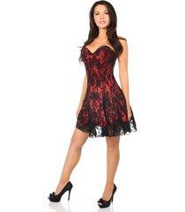 high quality satin lavish red lace corset dress premium side zipper closure