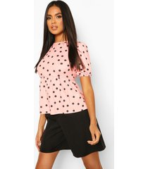 polka dot peplum top, blush