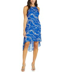 adrianna papell printed high-low fit & flare dress