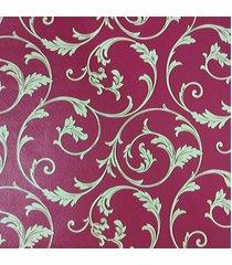kit 2 rolos de papel de parede fwb lavã¡vel vermelho folhas bege - bege/vermelho - dafiti