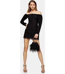 black lace bardot mini dress - black