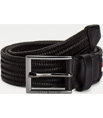 tommy hilfiger men's mixed materials formal belt black - 38