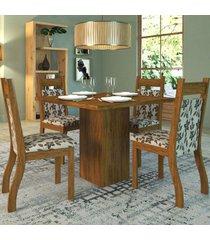 mesa de jantar 4 lugares aires cedro/brownie - viero móveis