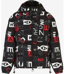men's crop square logo zip-up puffer jacket
