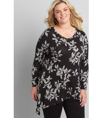 lane bryant women's softest touch step-hem tunic top - printed 22/24 black and white floral