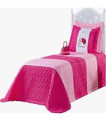 cobre leito solteiro mirela kit quarto infantil 04 pã§s pink - multicolorido - dafiti