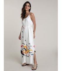 vestido feminino salinas longo estampado gaivotas alças finas off white