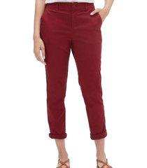 pantalon girlfriend khaki rojo gap