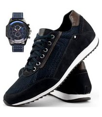 sapatênis casual neway florense masculino azul + relógio sport