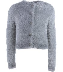 balmain silver colored metallic fuzzy viscose fitted cardigan