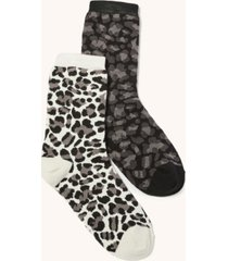 women's italian leopard crew socks, pack of 2