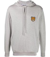 moschino teddy bear motif knitted hoodie - grey