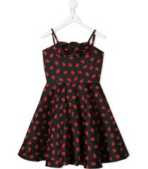 little bambah tulip embroidered flared dress - black