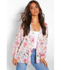 roze bloemenprint kimono, roze