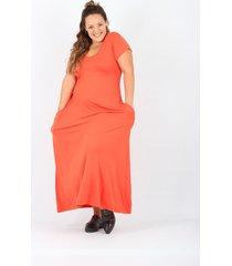 vestido naranja minari bolsillos plus size