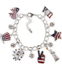 holiday lane silver-tone pave red, white & blue charm bracelet, created for macy's