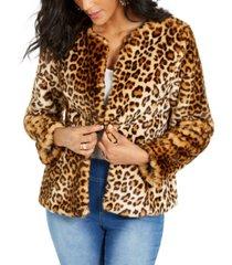thalia sodi faux-fur leopard-print jacket, created for macy's
