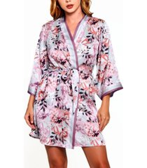 women's plus size floral robe with contrast trims