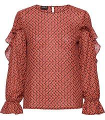 blouse long-sleeve blus långärmad röd taifun