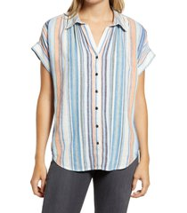 women's caslon stripe woven shirt, size x-large - blue