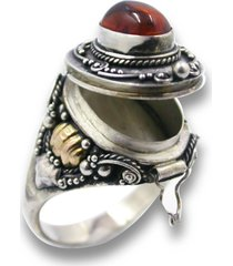 sterling silver 14k gold amber poison pill box locket ring secret compartment
