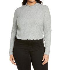 plus size women's bp. mock neck lettuce trim top, size 2x - grey
