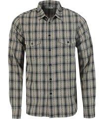 beige oversize check print shirt